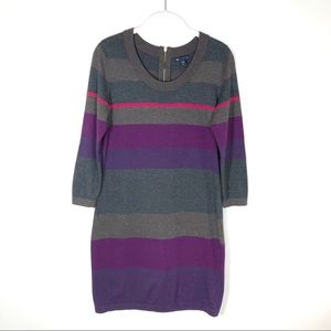 GAP sweater dress gray purple stripe medium